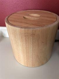Wooden ice bucket.