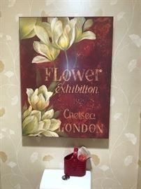 Floral exhibit print on canvas.