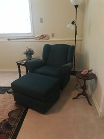 Green chair with matching ottoman