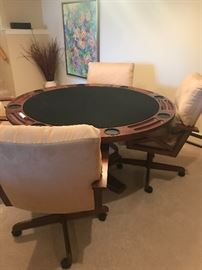 Cards anyone ? This is a great Card table with comfortable chairs for the ultimate game! Table has a reversible top for entertaining.