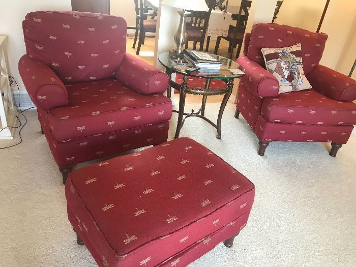 Matched set of chairs with ottoman.