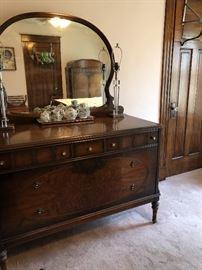 3 of 4 piece Bedroom set, dresser with mirror