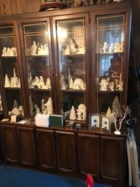 Mid Century China cabinet and Dept 56 Snowbabies