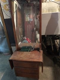 Vintage wall mirror with storage
