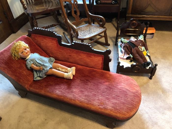 Vintage child's chaise lounge
