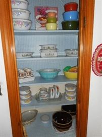 Vintage pyrex , mixing bowls and other fine kitchen items.