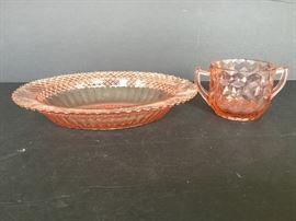 Glass Bowl and Sugar Bowl with Handles https://ctbids.com/#!/description/share/55332