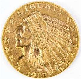 Lot 113 - Coin 1912 United States $5 Gold Indian Extra Fine