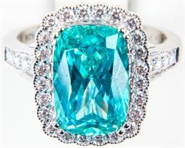 Lot 390 - Jewelry Sterling Silver Blue Topaz Cocktail Ring