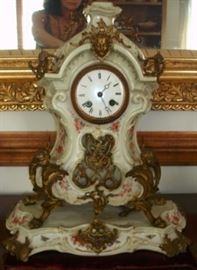 "43 - CLOCK - Mid 1800's French, hand painted porcelain, ormolu mounts, 18 1/2"" H."
