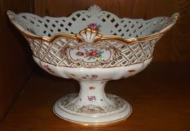 46 - FRUIT BOWL - 1800's Meissen, reticulated bowl, hand painted with flowers and gold embellishments, footed.