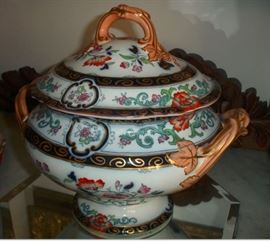 "67 - SOUP TUREEN - Late 1800's, English, hand painted porcelain, footed, polychrome decoration, 13""H, unmarked."