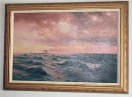 "106 - OIL ON CANVAS - Late 1800's, signed lower right H. Moore (Henry Moore, English 1831-1895), image of high seas and tall sail ships, beaded gold leaf frame, linen fillet, over all measures 25""H x 35 1/2""W."