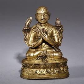 Chinese Tibetan gilt copper lama, 16th c.