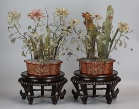 pair of Chinese flower trees in lacquer planters