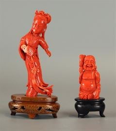 2 Chinese coral carvings