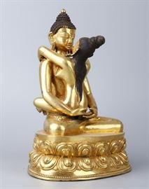 Chinese Tibetan gilded bronze Buddha