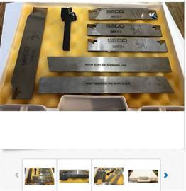 7pc SECO Set: Parting Blades, Indexible Threading Insert Holder, Machinist Tool; $330