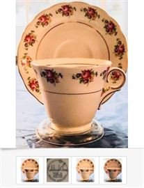One of several antique tea-cup sets available, of varying vintages, patterns, and prices; This picture is of a Colclough Roses Tea Cup & Saucer, made sometime from 1939 to the Early 40s, English Bone China; $30