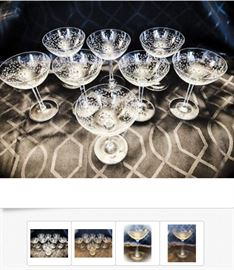 Crystal Stemware of various brands, ages, manufacturers, styles, quantity available, and prices; Items shown are Mid-Century Etched Crystal Champagne Glasses, and are $9 each