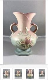 One of many pottery items available, of varying designs, types, ages, materials, quantities, and prices; Item shown is a Vintage Hull Art Pottery Magnolia Vase - Collectible, in Gift-Giving Condition, for $32