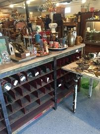 HUGE INDUSTRIAL LONG TABLE/STORAGE GREAT FOR WINE BOTTLES!
