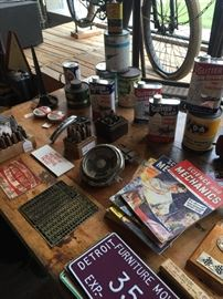 TONS OF ADVERTISING TINS AND BOOKS, LICENCE PLATES
