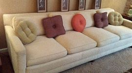8 ft Modern Mid Century Down Sofa with Little Pillows
