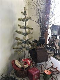 German Feather Trees, various Christmas Decor
