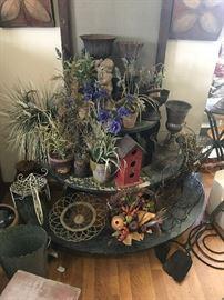 Silk flowers/plants, urns, garden items