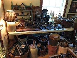 Crocks, Wooden Ware, Lamps, Lighting