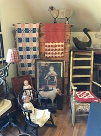 Antique quilts, Linsey-Woolseys, chairs, dolls, wall art