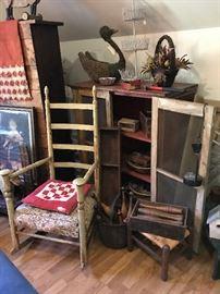 Antique Ladderback Rocker, Pie Safe, Wooden Ware, wooden bowling pins