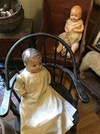 Antique dolls, children's chairs
