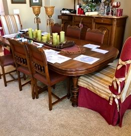 Huge dining room table & chairs