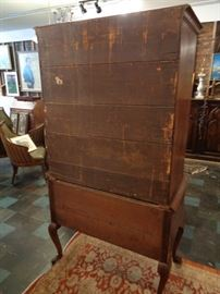 18th C. American walnut highboy flat top chest