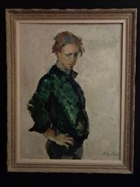Mid century large oil on board portrait of young man