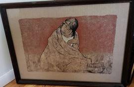 Vintage Navajo oil on hide.