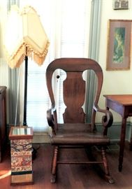 Antique Rocking Chair and Floor Lamp