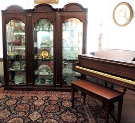 China and Baby Grand Piano (China Cabinet Not for Sale)