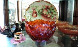 Carnival Glass and Hand Painted China