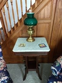 Marble top table and lamp