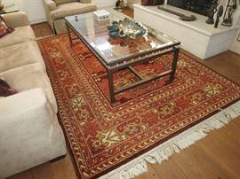 Karastan Rug; Beveled Glass Coffee Table