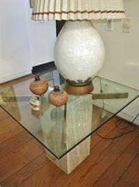 Cool Mid-Century Travertine Marble Side Table; Crackle Glaze Ceramic Lamp