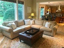 Pottery Barn Sectional and Ottoman with tray