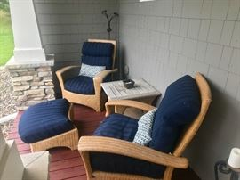 Outdoor 2 chairs, ottoman, table and pillows.
