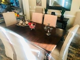 Pottery Barn Table WITH LEAF and EIGHT upholstered chairs.