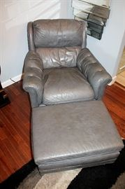 Genuine leather armchair and ottoman