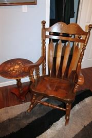 Rocking chair, Italian marquetry side table