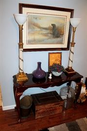 Console table, vintage Stiffel lamps (original shades included), home decor
